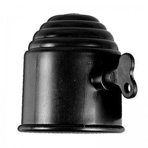 Trekhaakdop zwart met slot in blister