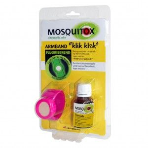 Mosquitox Fluoriserend Armband + Citronella Olie