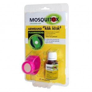 Mosquitox Fluoriserend Armband + Olie tegen Muggen