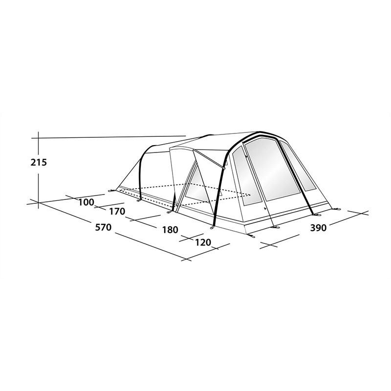 Outwell Pendroy 6AC opblaasbare tent 110757 afmetingen