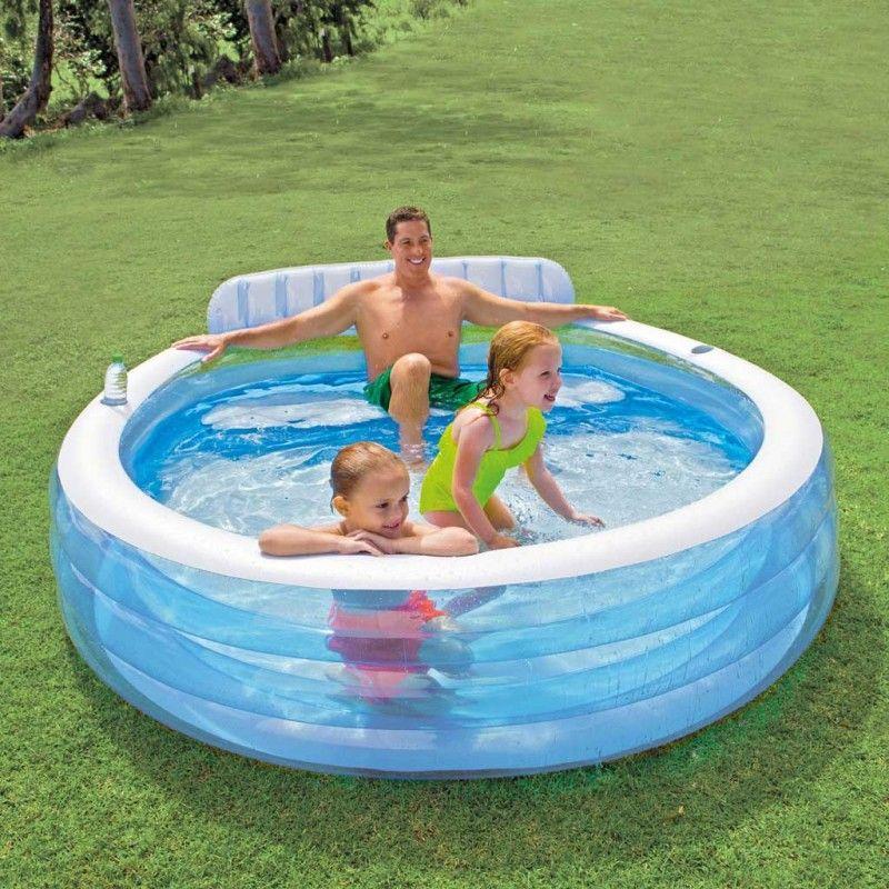 Intex swim center family lounge pool 224 x 216 x 76 cm zwembad for Intex swim centre family lounge pool cover